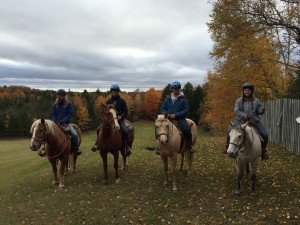 (L to R) Jacleen and the Barn Vanguards, Josh, Dan, and Sarah, rode to the top of Ski Hill!